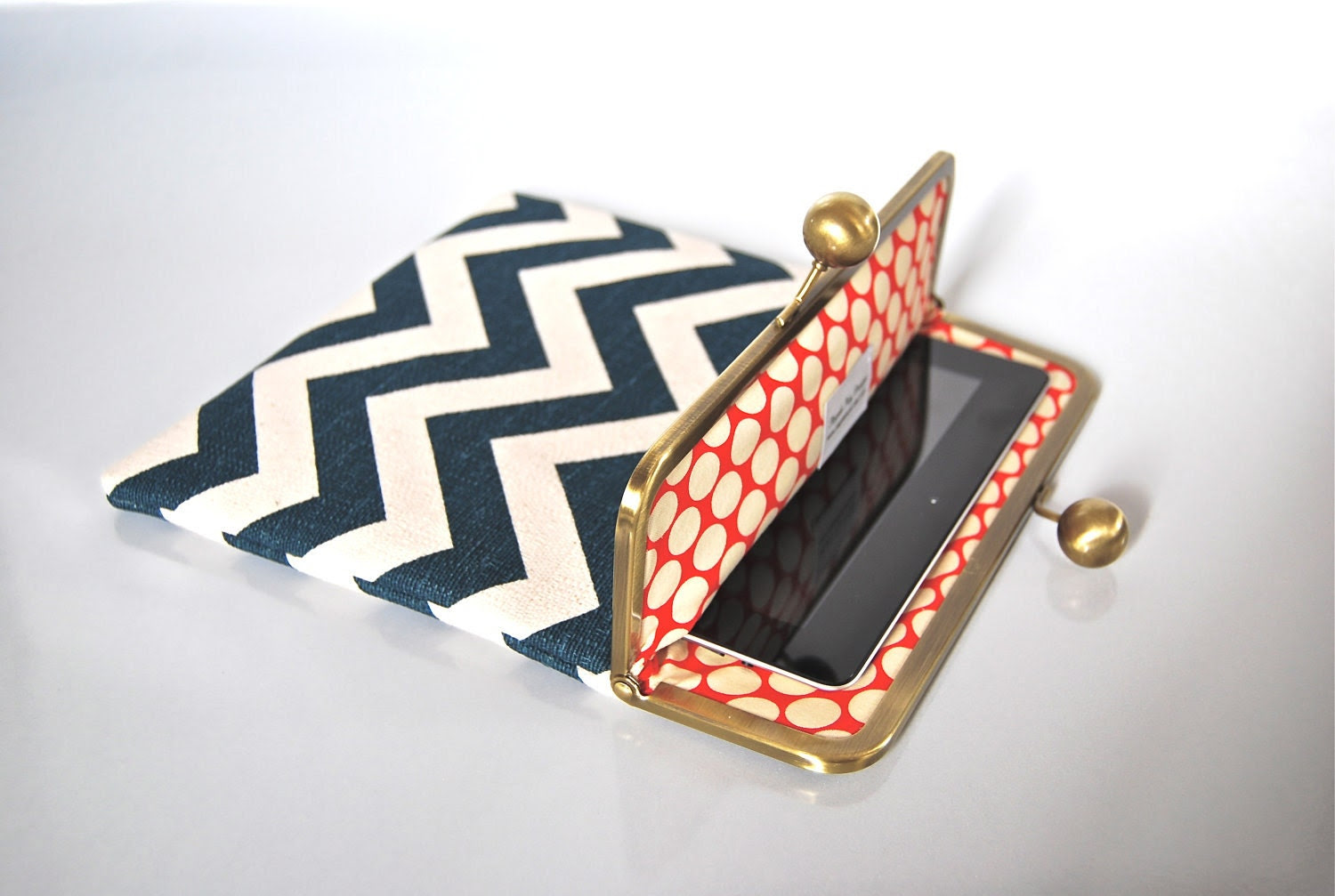 "Reserved Listing only for Deven - iPad Clutch Case ""Navy Chevron"""