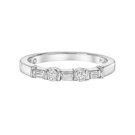 Round & Baguette Diamond Five Stone Band (~0.3 ct tw