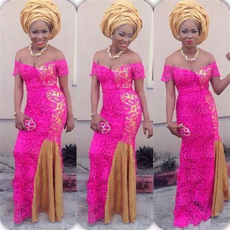 Nigerian wedding guest inspiration! Hot pink lace dress