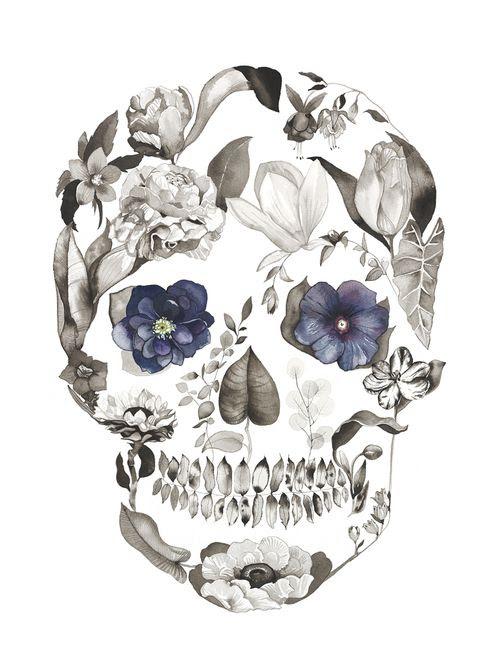 Floral Skull Tattoo Design