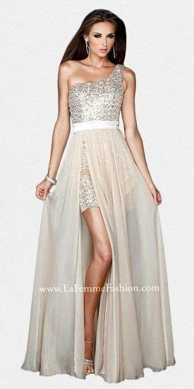 Sexy evening dress from La Femme with a short sequined one