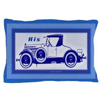 HIS Blue Car Pillow Case