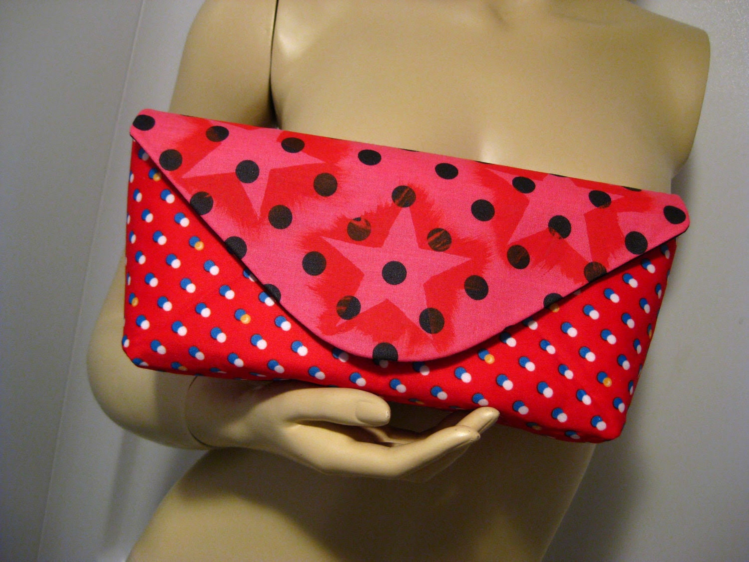 """Hand Painted Red Stars on Upcycled Polka Dot Fabric """"A"""" Clutch"""