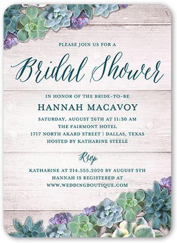Spectacular Succulents 5x7 Bridal Invitation   Shutterfly
