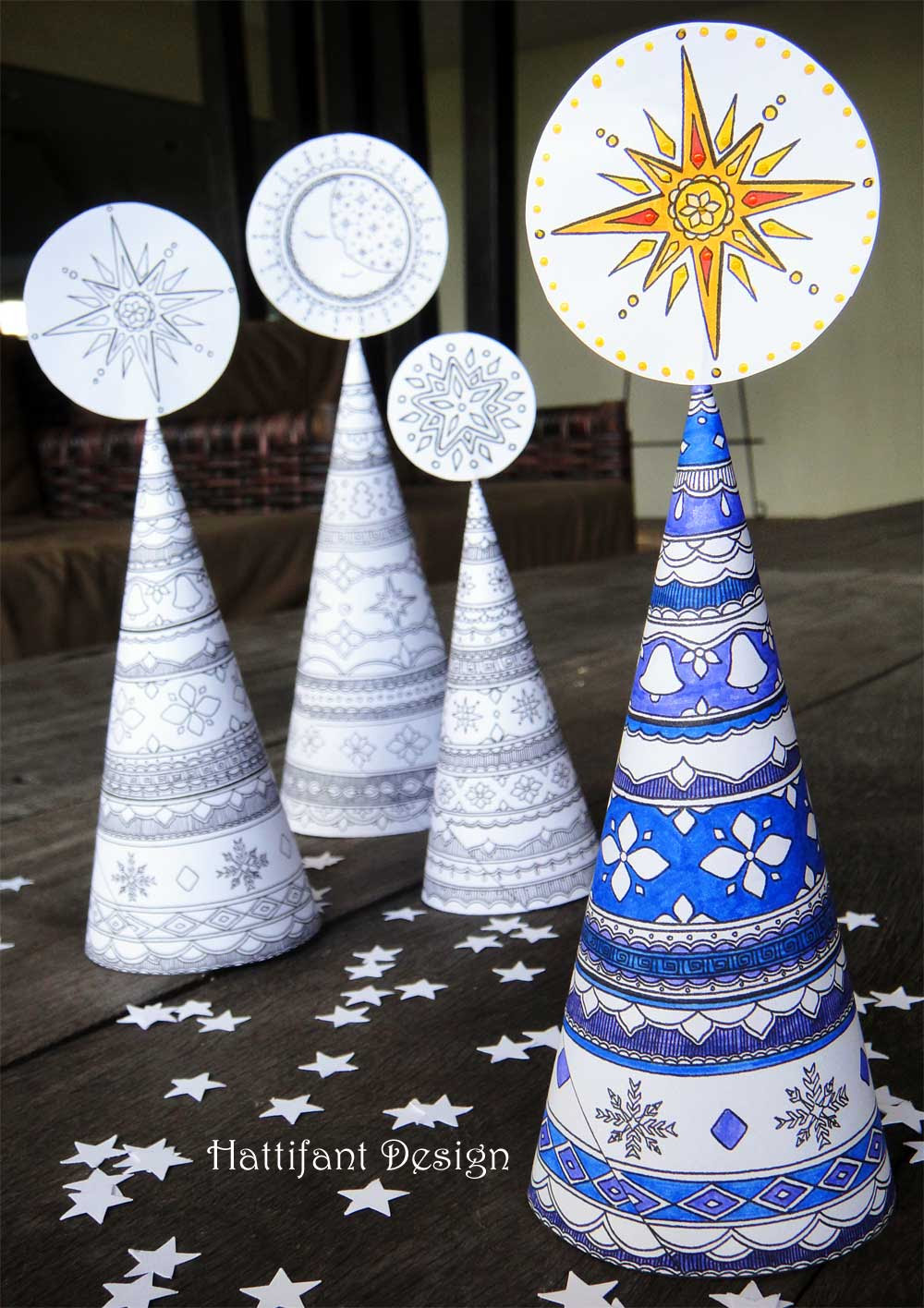 3D Coloring Pages for Grown ups - christmas trees - Red ...