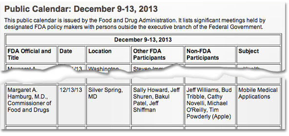 According to a public Food and Drug Administration calendar, Apple executives met with medical device and app regulatory officials in mid-December.