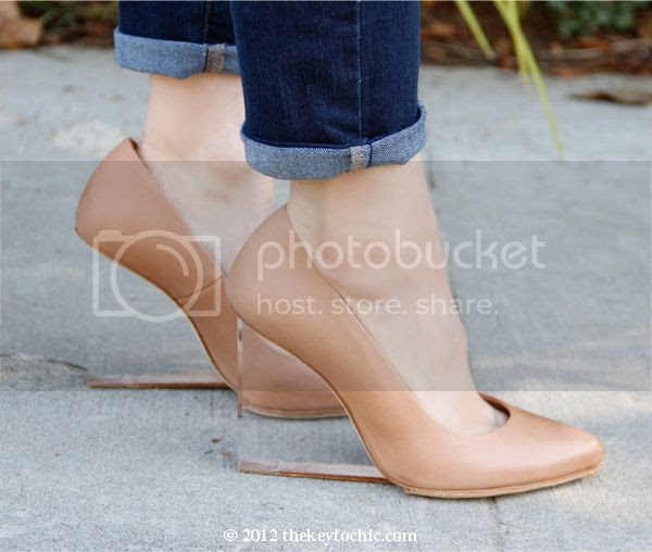 Maison Martin Margiela H&M tan invisible wedge pumps, nude wedges with lucite heels, PeopleStyleWatch Translucent accessories feature in June 2013 issue, Old Navy super skinny jeans, Los Angeles fashion blog