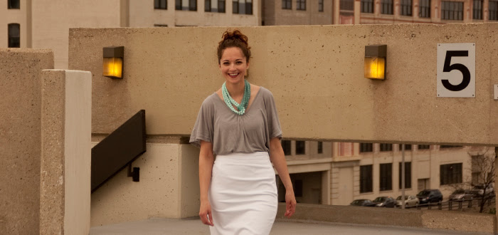 white skirt chicago gray top tucked boots spring sears tower parking garage curls dash dot dotty style blog