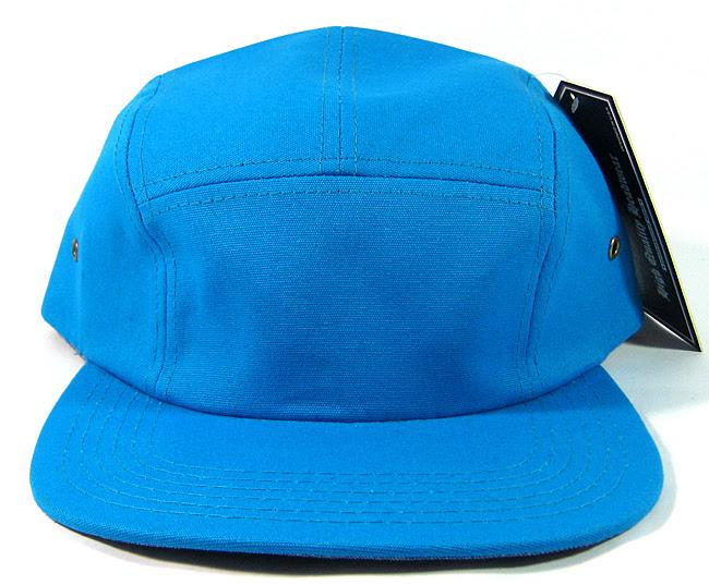 Blank 5 Panel Camp Hats/Caps Wholesale - Blue