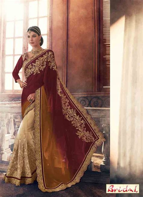Brown net and silk saree designs for wedding in 2018