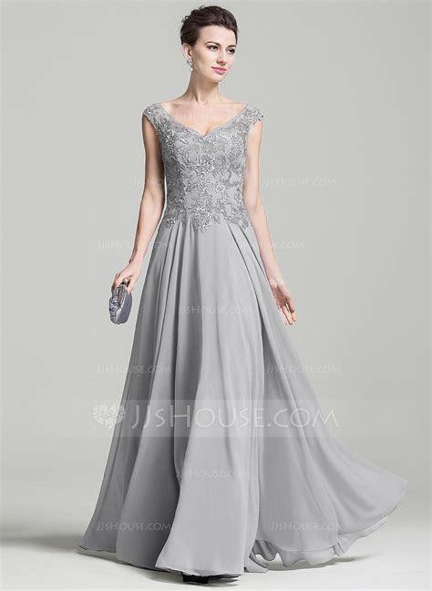 A Line/Princess V neck Floor Length Appliques Lace Zipper