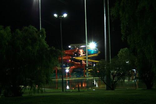 Water slides at night