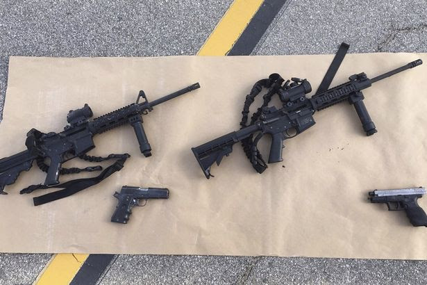 Weapons confiscated from last Wednesday's attack in San Bernardino