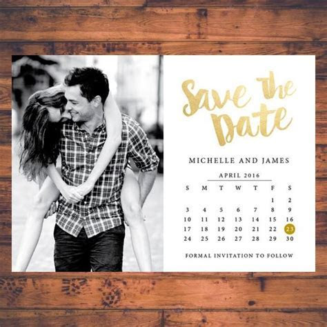 Save the date Invitation Calendar Save The Dates Faux Gold