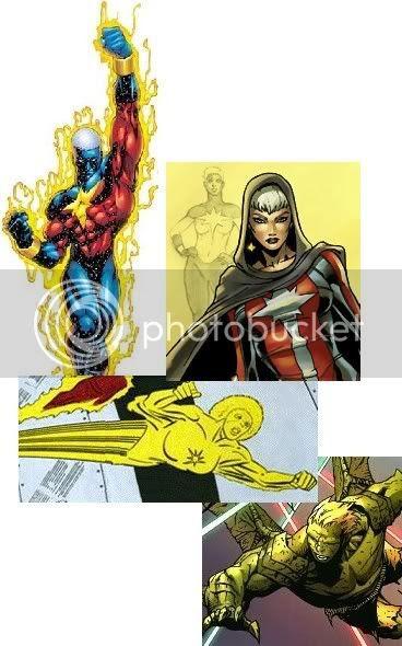 De cima para baixo: Genis-Vell; Phyla-Vell; Monica Rambeau; e Hulkling