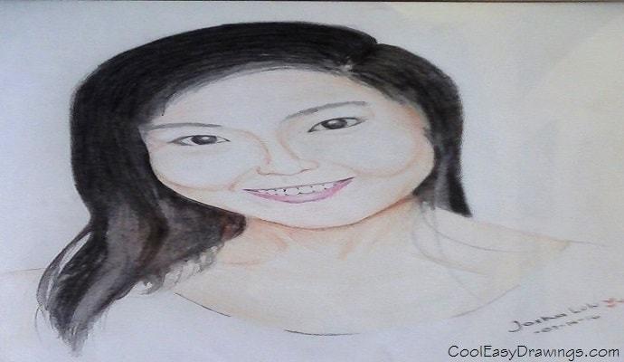 690x400 Cute Girl Face Drawing (Like a Pretty Korean Celebrity)