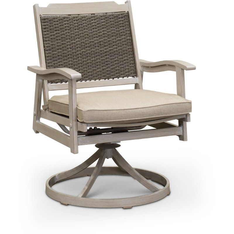 White Washed Swivel Rocker Patio Chair Lake House Rc Willey Furniture Store