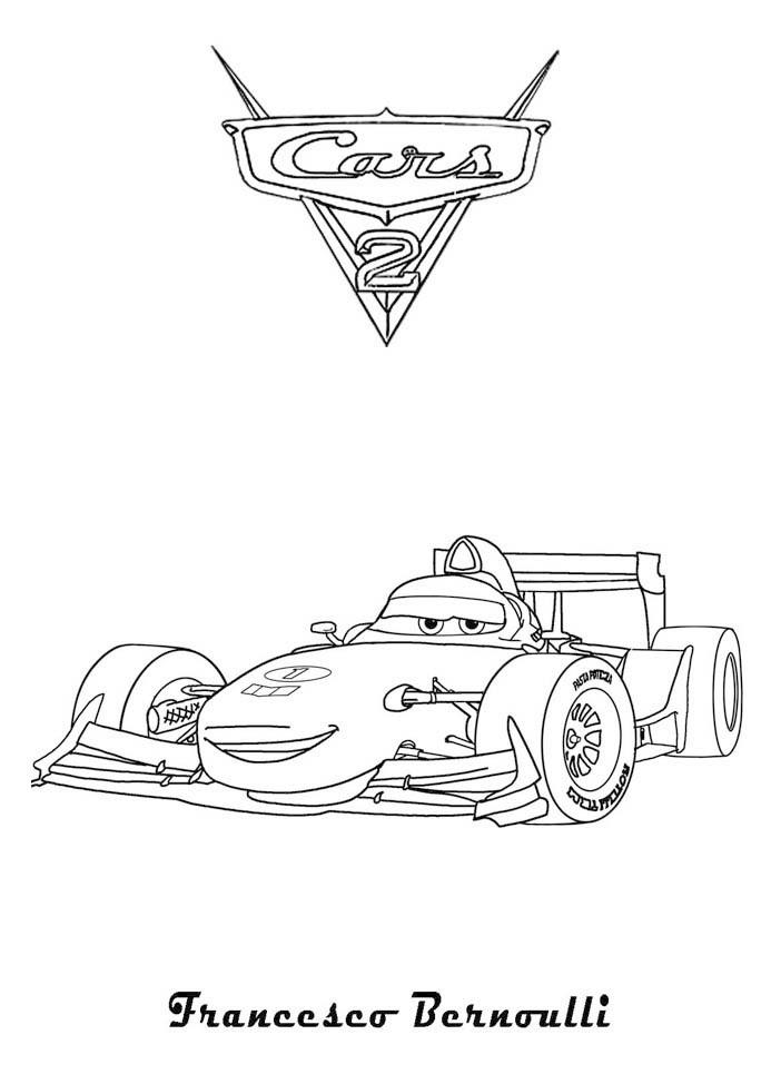 Coloriage A Imprimer Cars 2 Francesco Bernoulli Gratuit Et Colorier