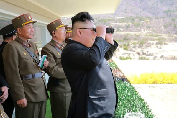 North Korean Leader Kim Jong Un observes a target-striking contest by the Korean People's Army (KPA) in this undated photo, released by North Korea's Korean Central News Agency (KCNA), April 13, 2017.