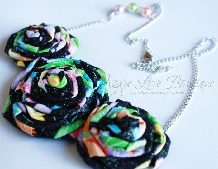Spring Fling Rosette Bib Necklace