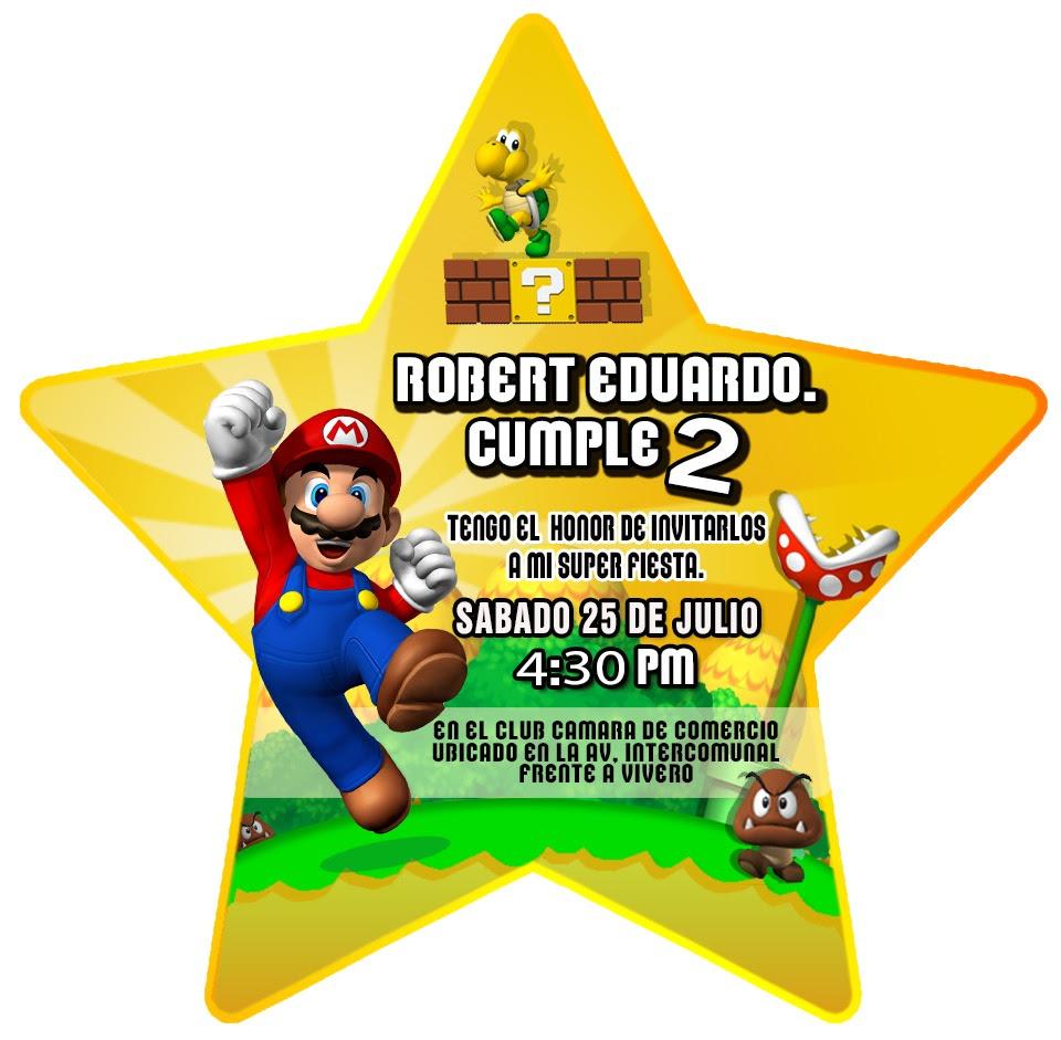 Tarjetas Cumpleaños Mario Bros