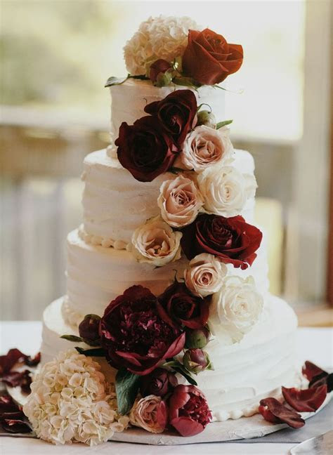 Burgundy   Cream Rustic Chic Texas Wedding   WEDDING CAKES