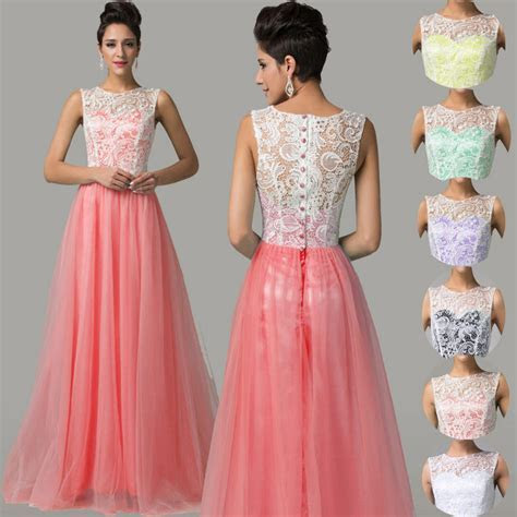 Cheap~Lace Satin Formal Bridesmaid Dresses Party Evening