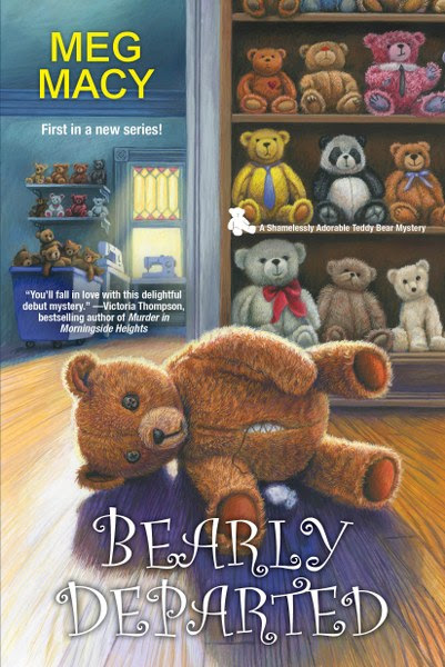 """Book Cover for cozy mystery Bearly Departed from the Shamelessly Adorable Teddy Bear Mystery Series by Meg Macy."""