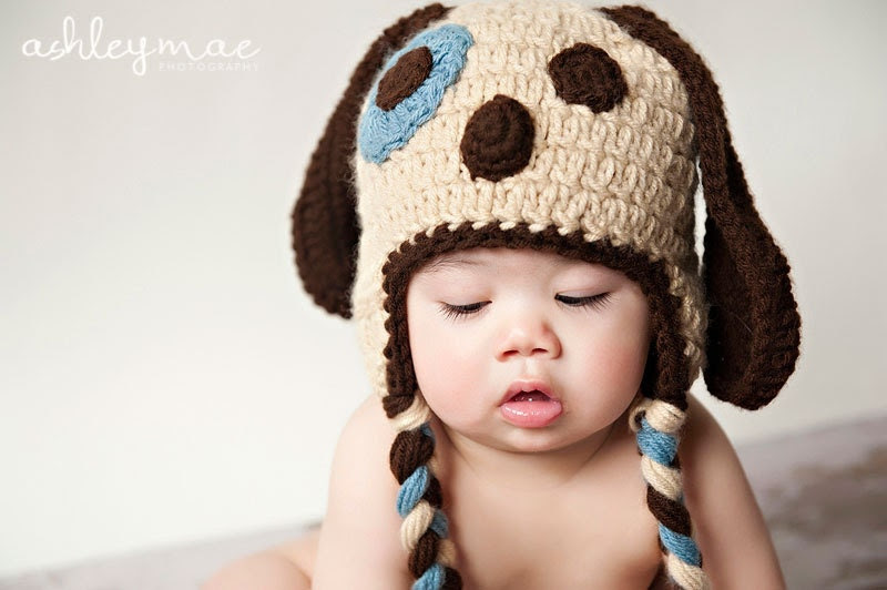 PDF Puppy Dog Hat CROCHET PATTERN in 5 different sizes for babies and adults