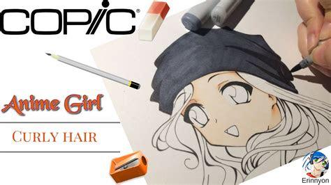 draw manga anime girl curly hair youtube