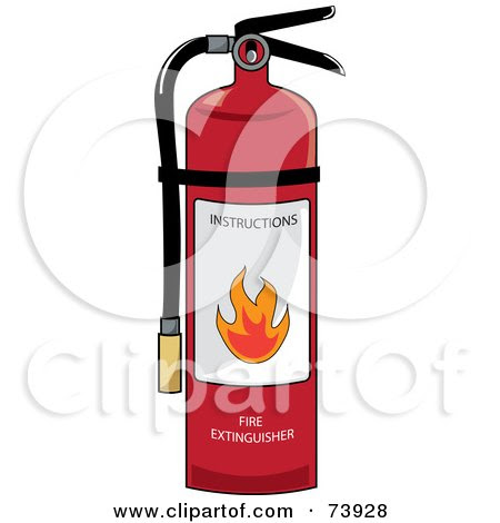 73928 Royalty Free RF Clipart Illustration Of A Red Fire Extinguisher With Instructions