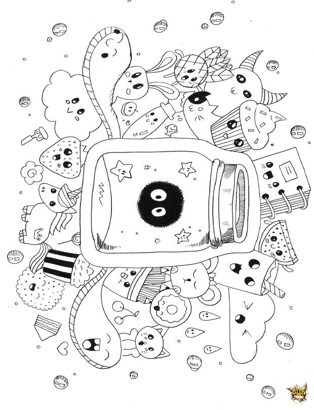 Coloriage Doodle Kawai à Imprimer Pour Adultes