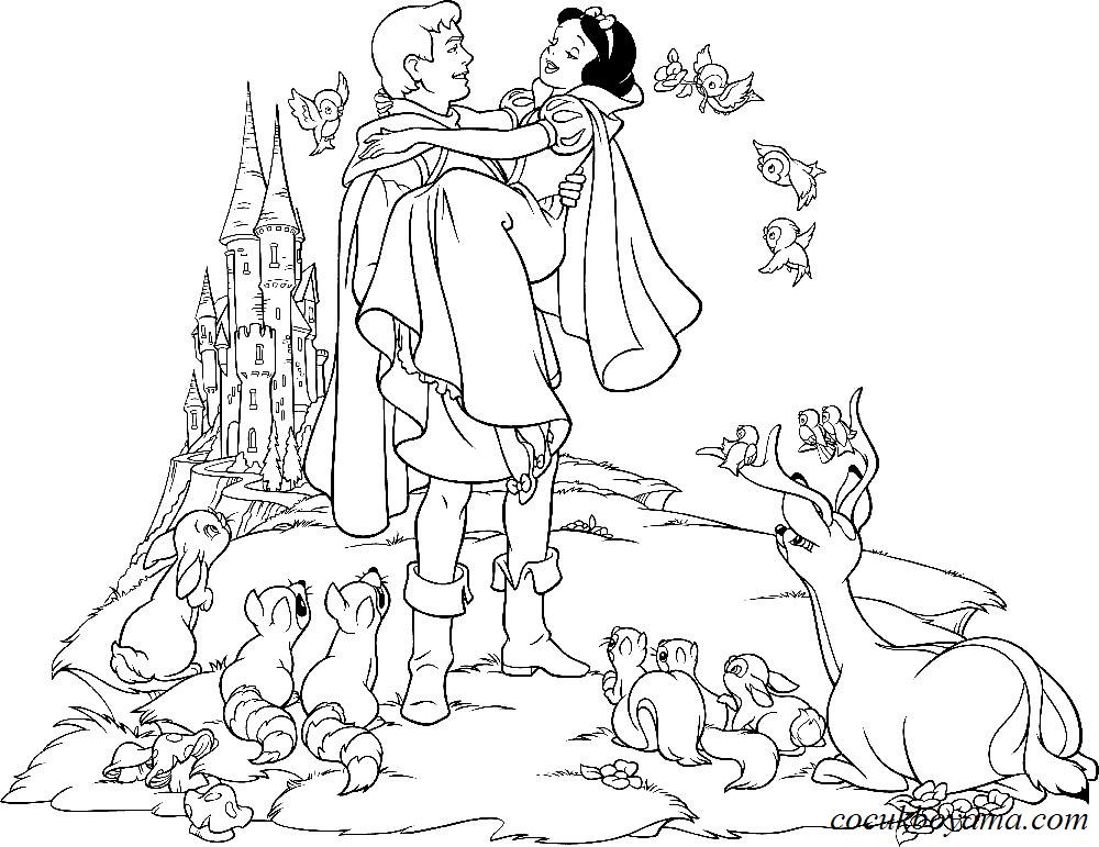 Pamuk Prenses Ve Yedi Cüceler Boyama Sayfası Gazetesujin