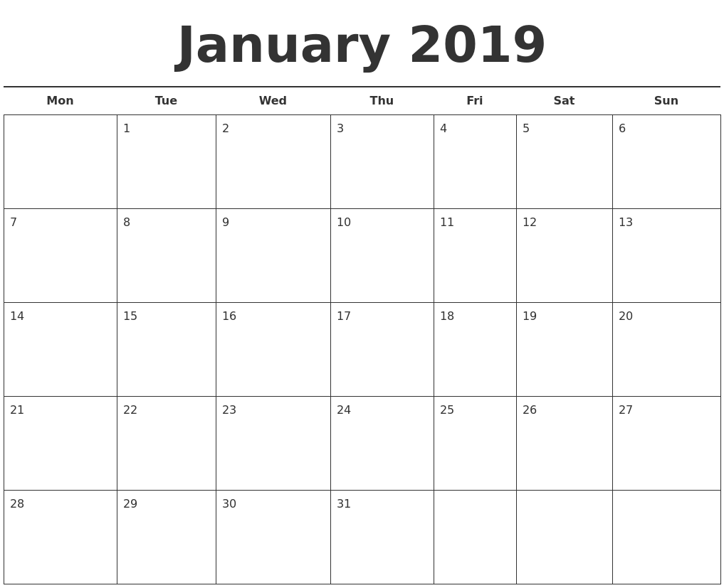 january 2019 free calendar template monday start