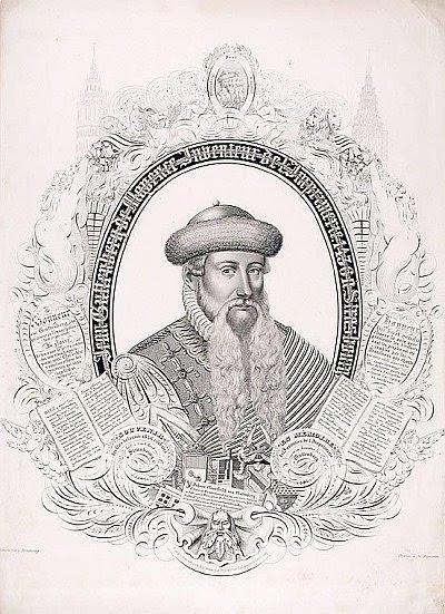 calligraphy portrait of Johannes Gutenberg