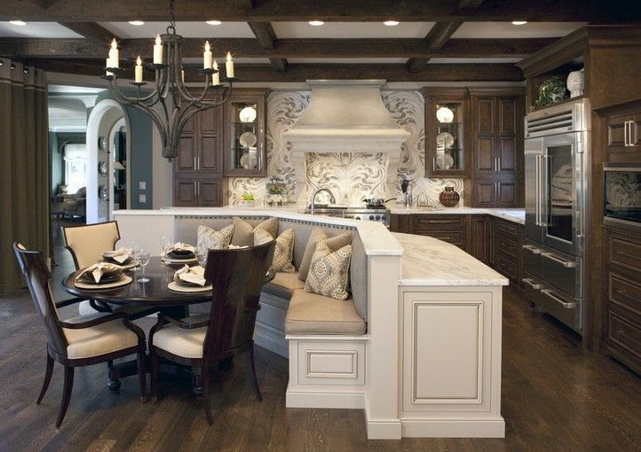 Traditional Kitchen with Hardwood floors, Chandelier, Kitchen island, Complex marble counters, Glass panel, Raised panel