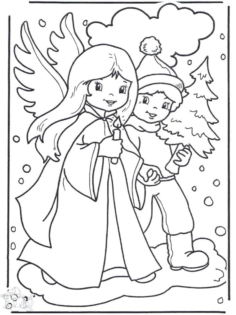 Ausmalbilder zu Weihnachten Engelchen
