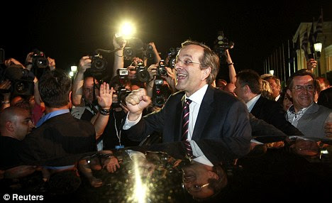 Running scared: Samaras says that leaving the euro would be catastrophic for Greece, but now the lenders are now more fearful than the borrowers