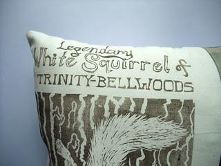 white squirrel detail of pillow
