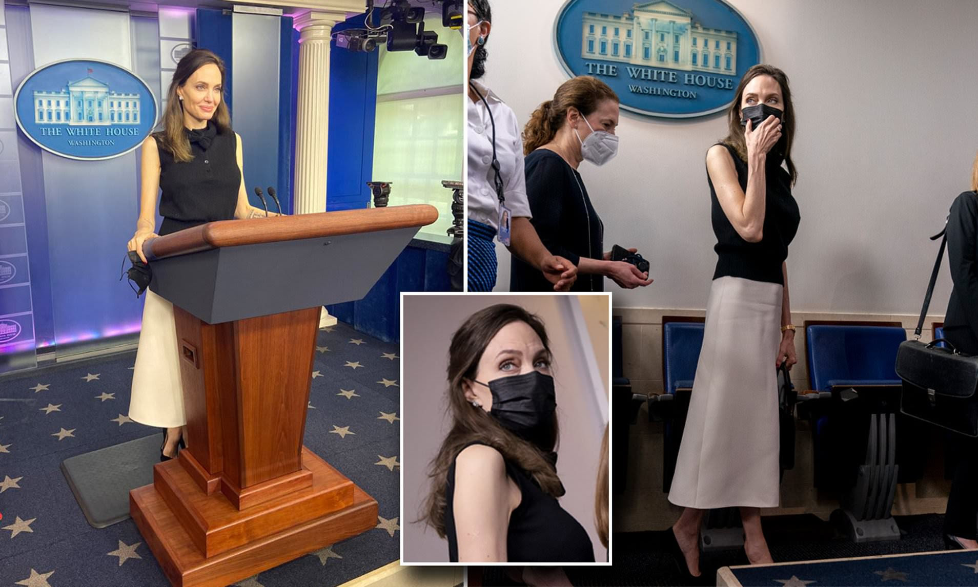 Angelina Jolie poses for pictures at Jen Psaki's lectern during surprise White House visit