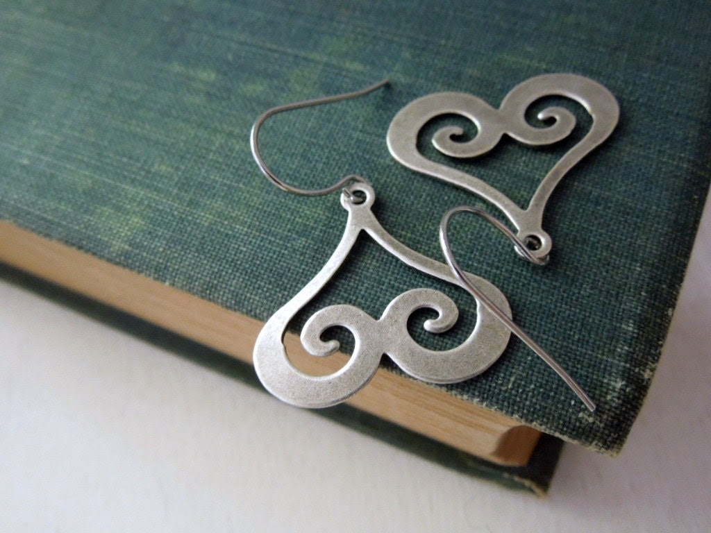 Heart Swirl Earrings - Antiqued Silver Brass Swirl Charm Earrings Silver French Hook Earwires - Saout