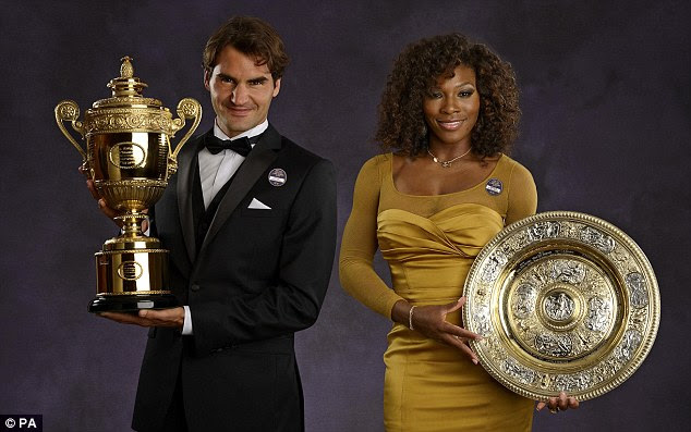 Double success: Federer (left) with the women's champion Serena Williams at the Champions' Dinner