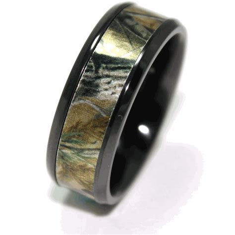 Men's Black Zirconium Beveled Camo Wedding Ring   Wedding