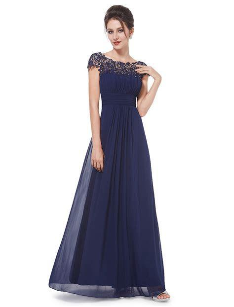 Chiffon Cap Sleeves Lace Navy Blue Bridesmaid Dresses,Blue