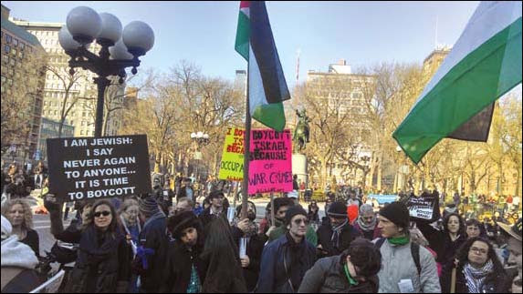 A Jewish BDS demonstration, Union Square, New York City, March 8, 2014. Some Jewish groups have played a prominent role in legitimizing BDS.