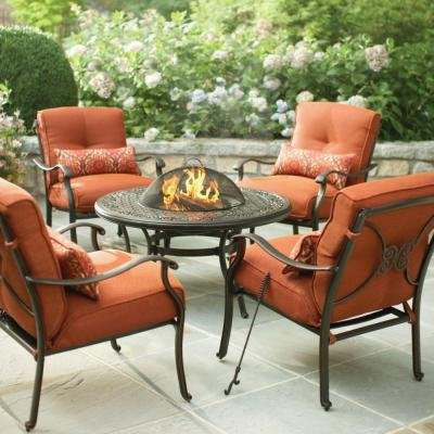 Info Martha Stewart Living Cold Spring 5 Piece Patio Fire Pit Set With Burnt Orange Cushions Dixlinecavtaw