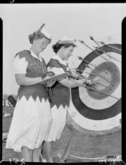 Flickr: Two female archers at Athletic Park, Wellington, 1950