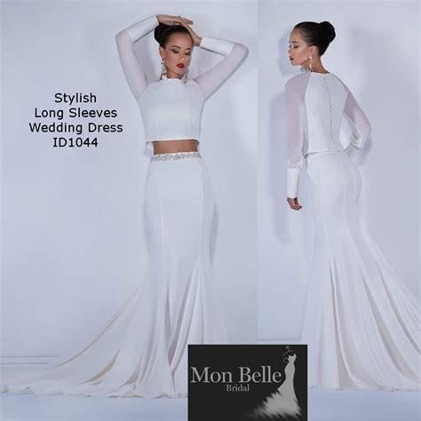 Long Sleeves 2 piece wedding dress   Mon Belle Bridal