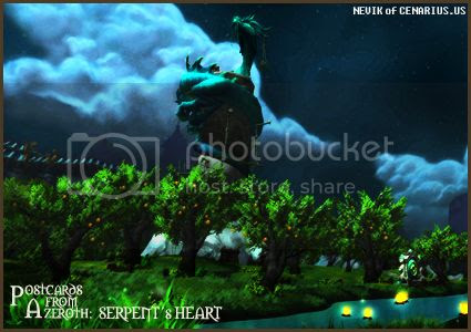 Rioriel and Nevik's daily World of Warcraft screenshot presentation of significant locations, players, memorable characters and events, assembled in the style of a series of collectible postcards. -- Postcards of Azeroth: Serpent's Heart