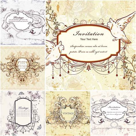 Vector Vintage wedding invitations with doves   Free download